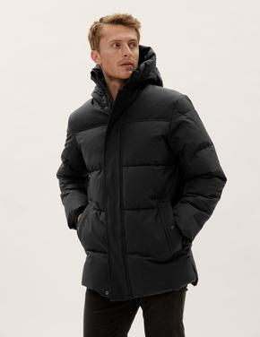 Erkek Siyah Thermowarmth™ Kapüşonlu Puffer Şişme Mont