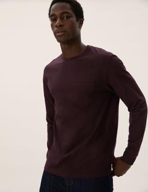 Erkek Bordo Saf Pamuklu Uzun Kollu T-Shirt
