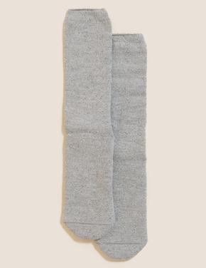 Kadın Gri Yünlü Termal Çorap