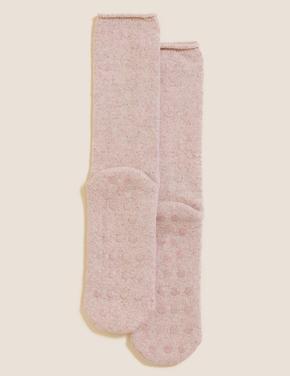 Kadın Pembe Yünlü Termal Çorap