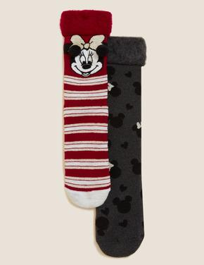 Kadın Siyah Minnie Mouse™ 2'li Çorap Seti